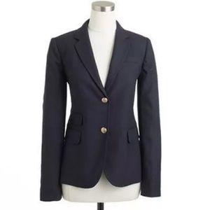 J Crew Wool Blend Navy Schoolboy Blazer 10 Petite